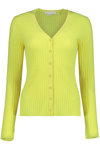 Ribbed Cardi-Top Yellow