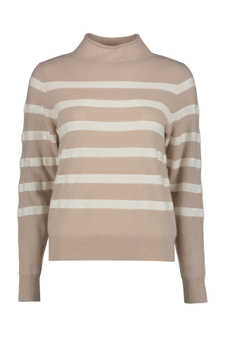 Sequin Stripe Funnel Neck Sweater