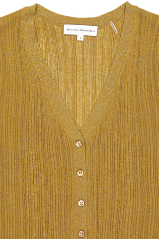 Front collar detail image of White & Warren Shine Cardigan Gold