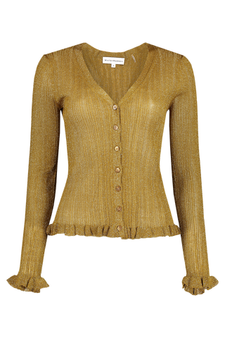 Front view image of White & Warren Shine Cardigan Gold