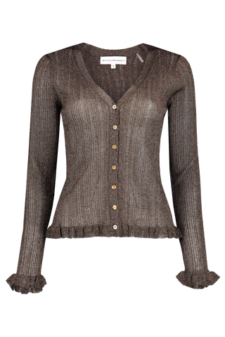 Front view image of White & Warren Shine Cardigan Smokey Topaz