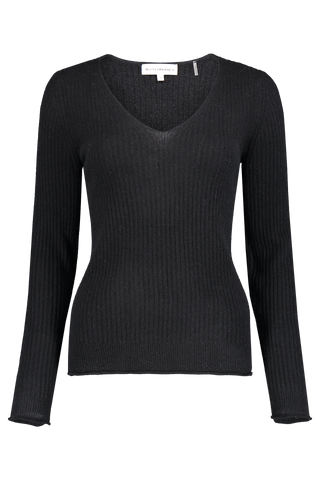 Front view image of White & Warren Slim Ribbed V Neck Sweater Black