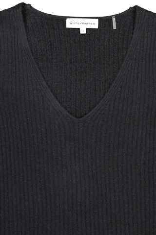Front neckline detail image of White & Warren Slim Ribbed V Neck Sweater Black