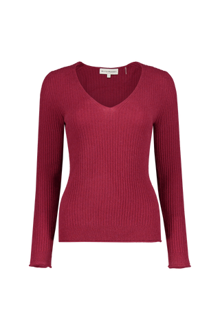 Front view image of White & Warren Slim Ribbed V Neck Sweater Brick Heather