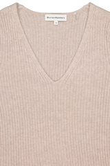 Front collar detail image of White & Warren Slim Ribbed V Neck Sweater Truffle Heather