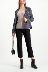 Full Body Image Of Model Wearing White & Warren Slim Ribbed V Neck Sweater Truffle Heather