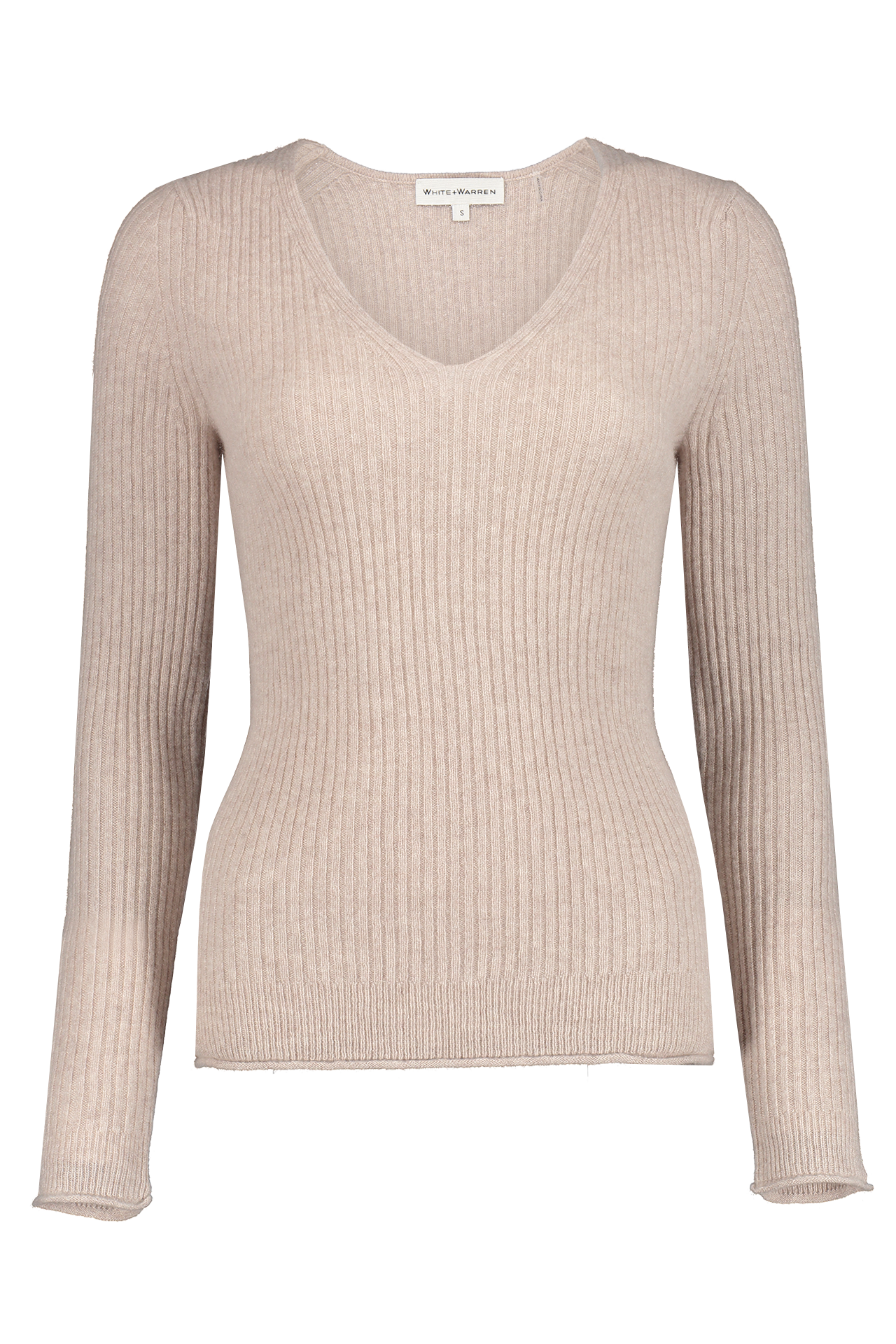 Front view image of White & Warren Slim Ribbed V Neck Sweater Truffle Heather