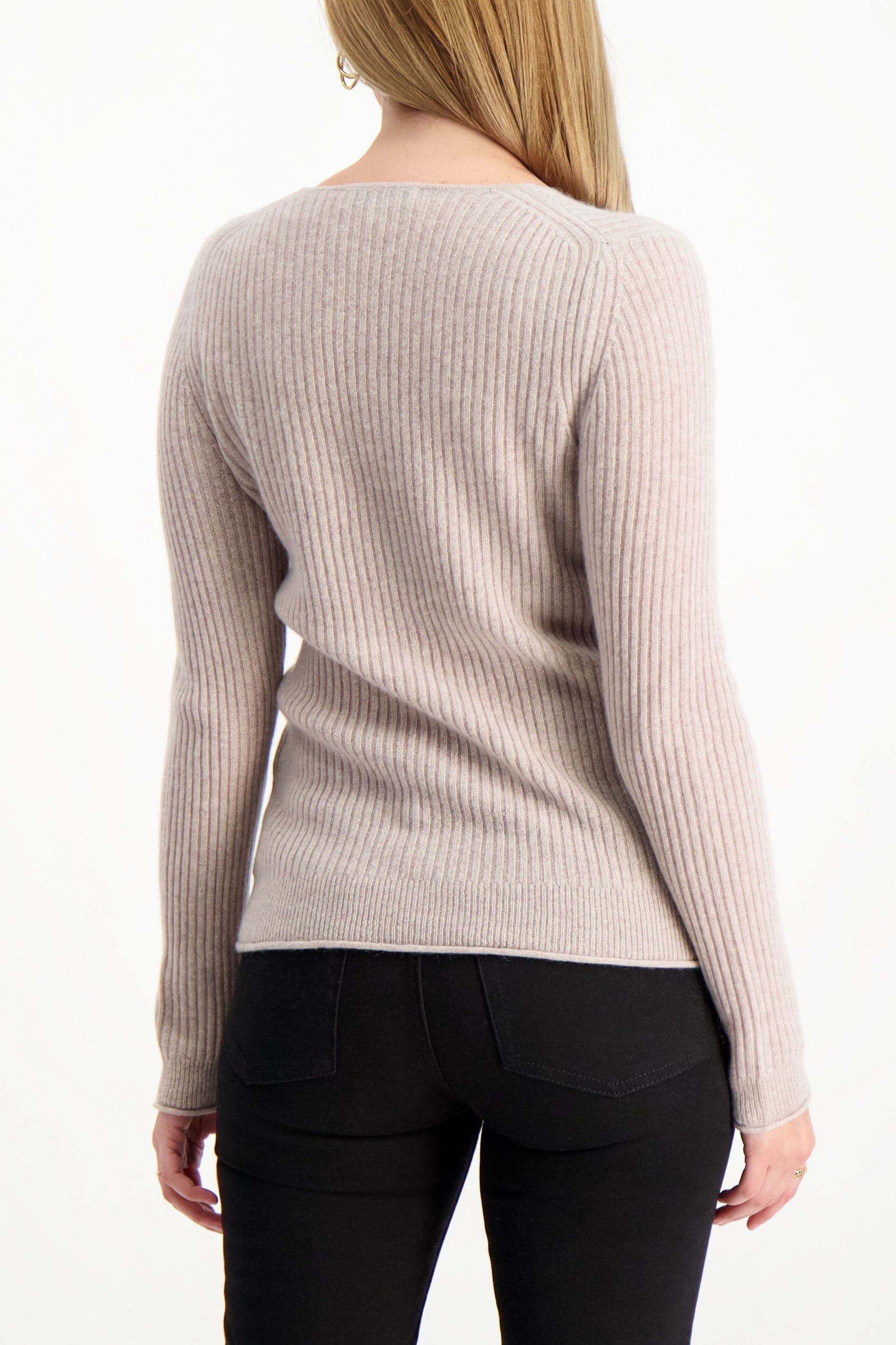 Back Crop Image Of Model Wearing White & Warren Slim Ribbed V Neck Sweater Truffle Heather