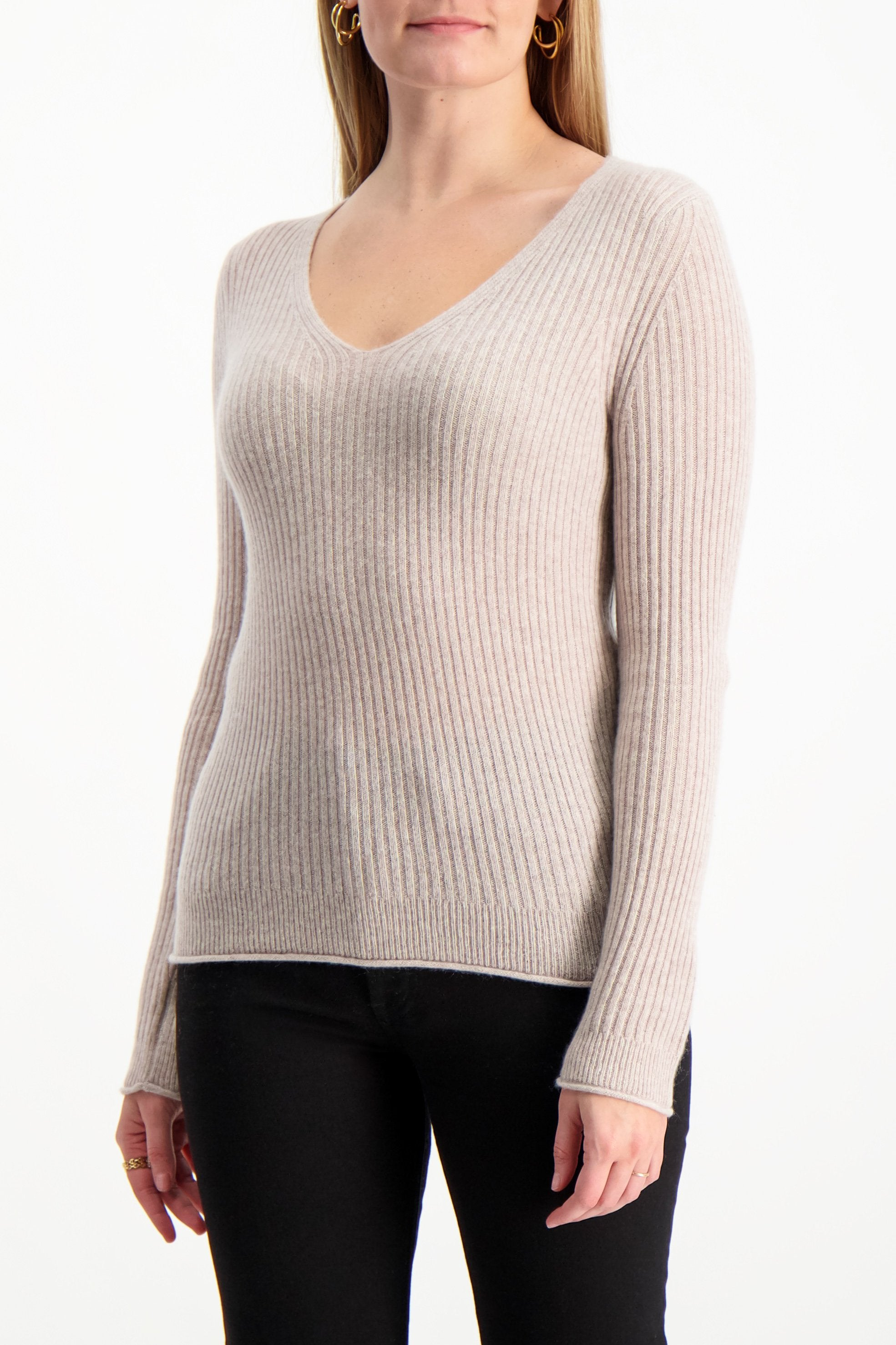 Front Crop Image Of Model Wearing White & Warren Slim Ribbed V Neck Sweater Truffle Heather