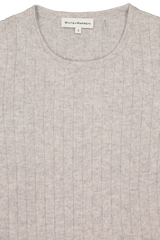 Front collar detail image of White & Warren Women's Slim Sweater Misty Grey