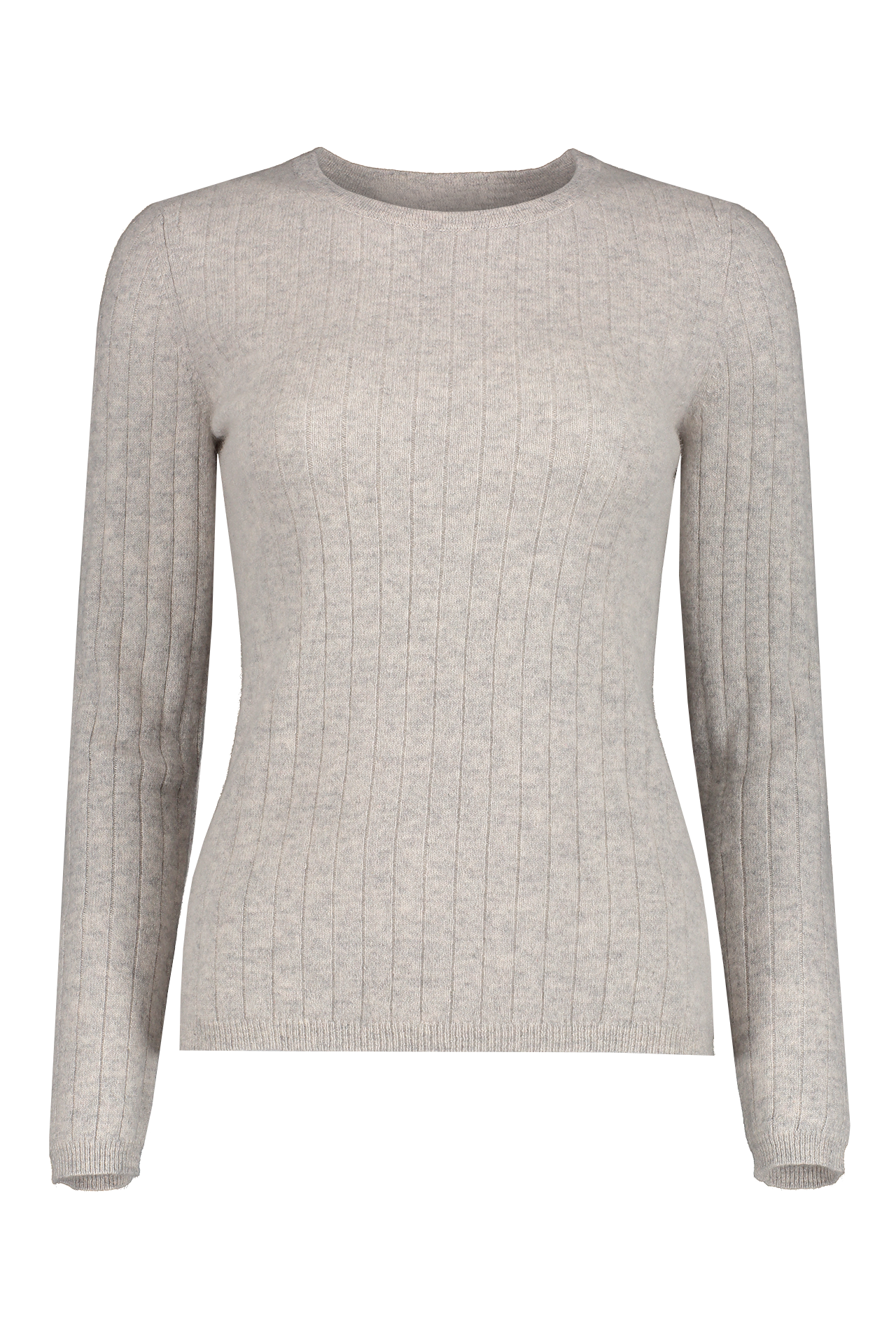 Front view image of White & Warren Women's Slim Sweater Misty Grey