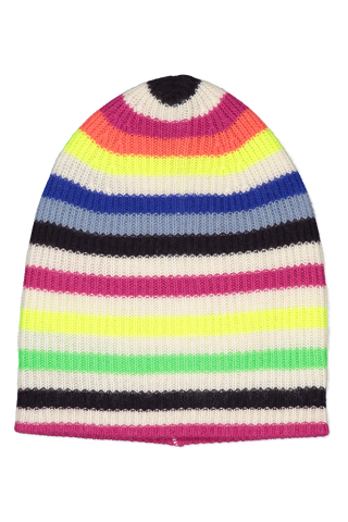 Image of White & Warren Striped Beanie Neon Combo
