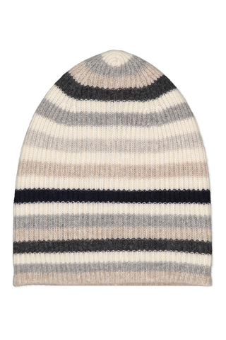Image of White & Warren Striped Beanie Grey Combo