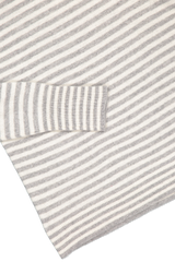 Hemline and cuff detail image of White & Warren Striped Essential Turtleneck Sweater Grey