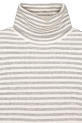 Front collar detail image of White & Warren Striped Essential Turtleneck Sweater Grey