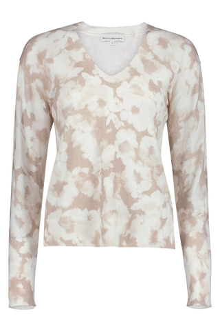 Tie Dye Floral V Neck Natural