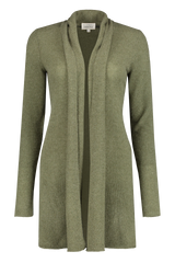 Front view image of White & Warren Women's Trapeze Cardigan Olive Heather