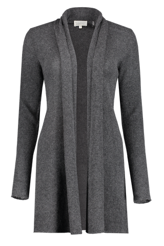 Front view image of White & Warren Women's Trapeze Cardigan Sweater Charcoal
