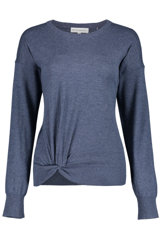 Twisted Hem Crewneck Dark Blue