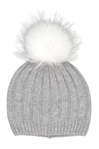 Image of White & Warren Wide Rib Pom Pom Beanie Grey Heather