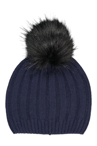 Image of White & Warren Wide Rib Pom Pom Beanie Deep Navy