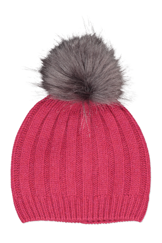 Image of White & Warren Wide Rib Pom Pom Beanie Brick Heather