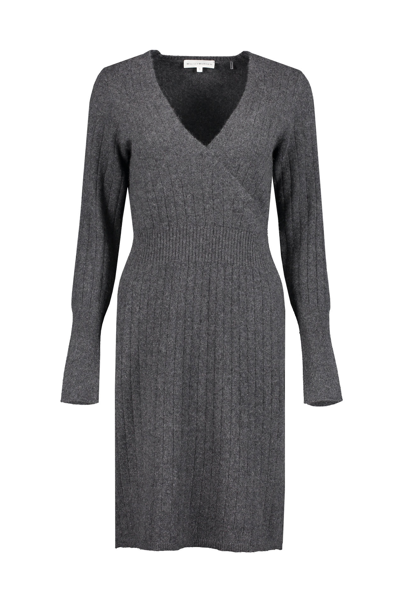 Front view image of White & Warren Wrap Effect Dress Charcoal