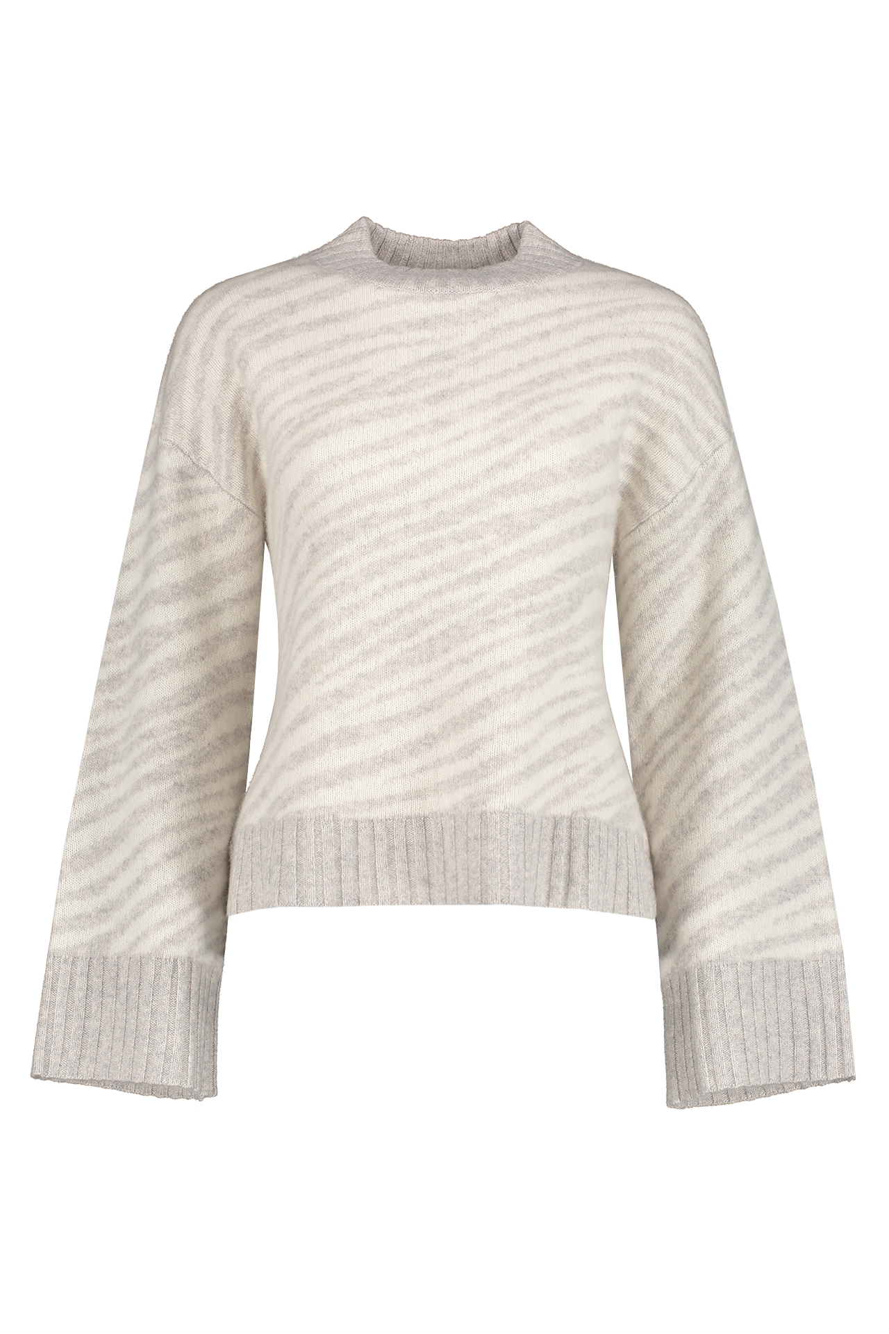 Front view image of White & Warren Zebra Jacquard Crewneck Sweater