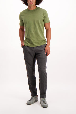 Full Body Image Of Model Wearing White Sand Brushed Chino Pant Grey