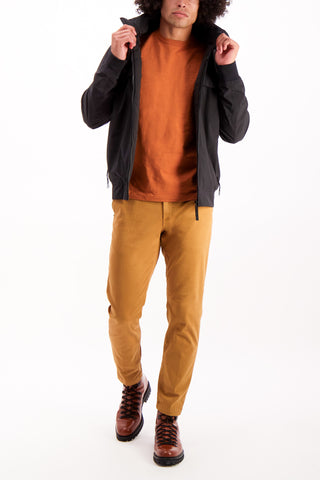 Full Body Image Of Model Wearing White Sand Chino Pant Cognac
