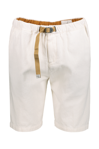 Front Image Of White Sand Cotton Linen Twill Short White