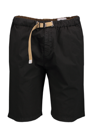 Front Image Of White Sand Cotton Stretch Short Black