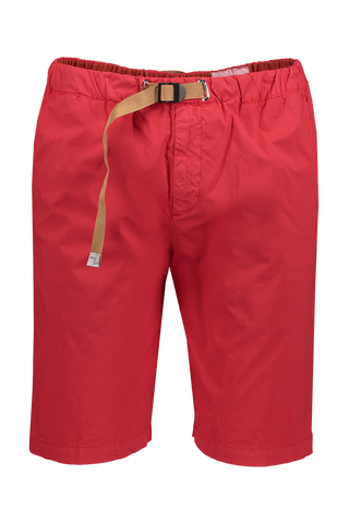 Front Image Of White Sand Cotton Stretch Short Red