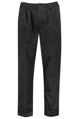 Elastic Waist Pleat Trouser Black