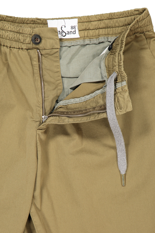 Elastic Waist Pleat Trouser Faded Olive