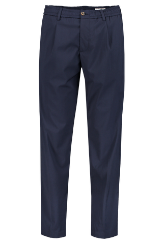 Elastic Waist Pleat Trouser Navy