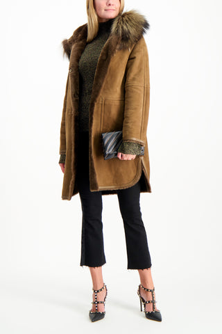Full Body Image Of Model Wearing Yves Salomon Merino Lamb Fox Parka