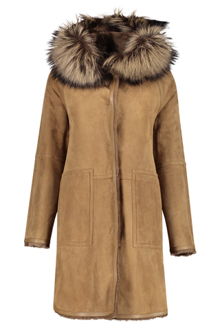 Front view image of Yves Salomon Merino Lamb Fox Parka