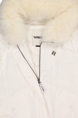 Front collar detail image of Yves Salomon Nylon Fox Trim Parka Blanc
