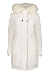 Front image of Yves Salomon Nylon Fox Trim Parka Blanc