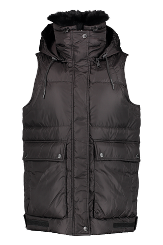 Front image of Yves Salomon Nylon Fox Vest Noir