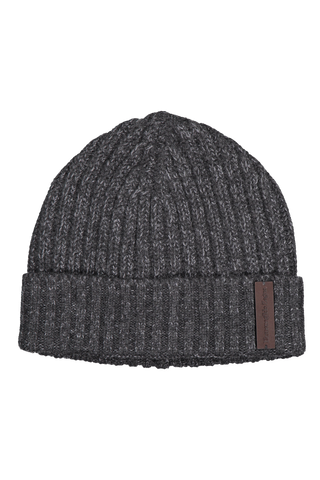 Front view image of Ermenegildo Zegna Men's Beanie Hat Charcoal