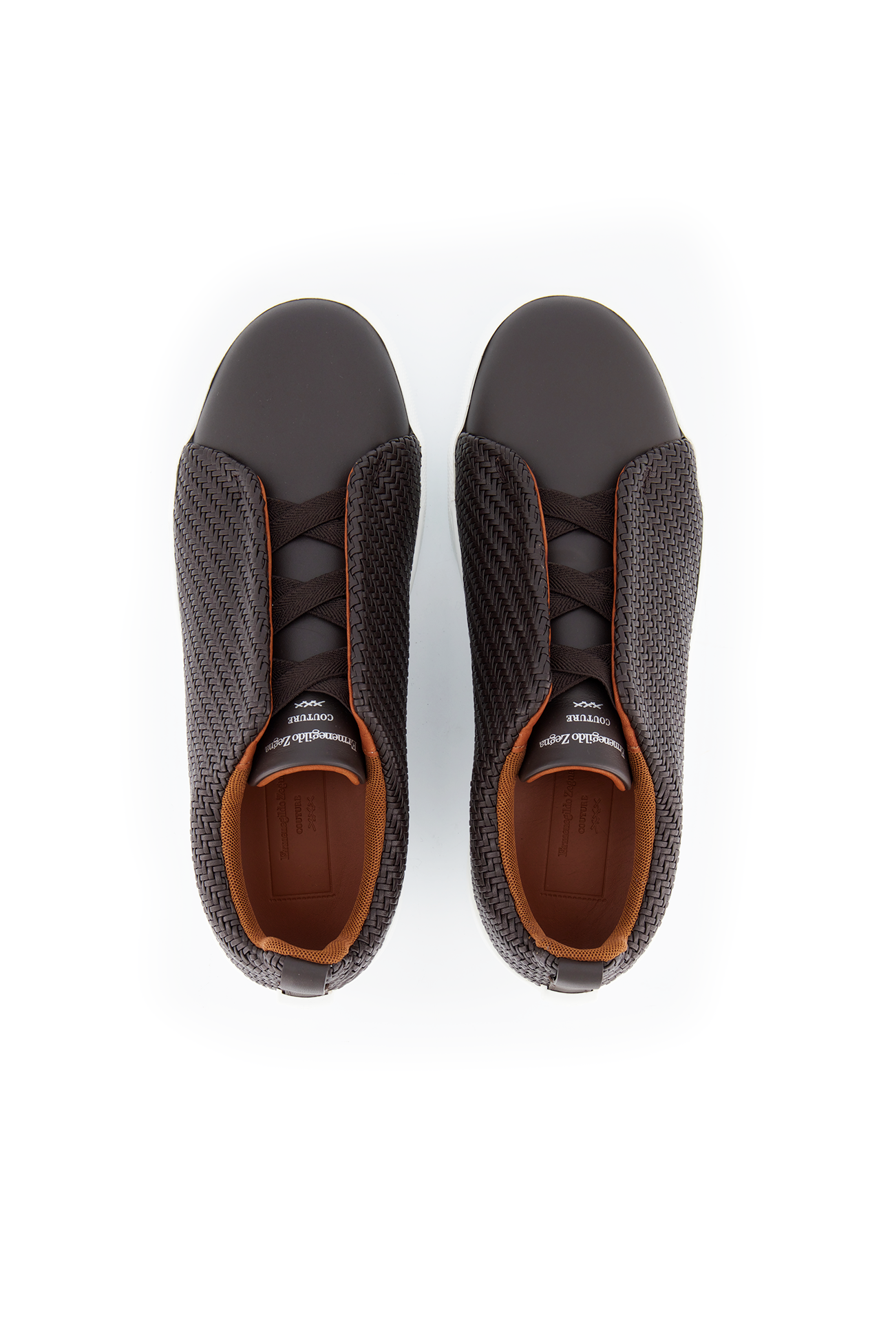 Top view image of Ermenegildo Zegna Brown Triple Stitch Sneaker