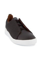 Front angled view image of Ermenegildo Zegna Brown Triple Stitch Sneaker