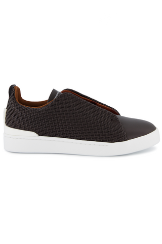 Side view image of Ermenegildo Zegna Brown Triple Stitch Sneaker