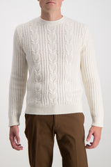 CABLE KNIT CREWNECK SWEATER WHITE