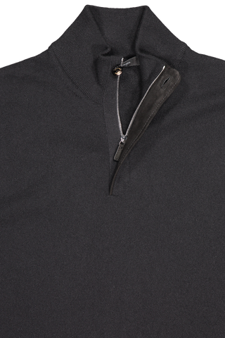 Front collar view of Ermenegildo Men's Cashmere 1/4 Zip Sweater Black