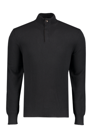 Front view of Ermenegildo Men's Cashmere 1/4 Zip Sweater Black