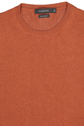 Front collar detail image of Ermenegildo Zegna Cashmere Crew Neck Sweater Orange