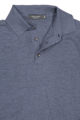 Front collar detail image of Ermenegildo Zegna Cashseta Long Sleeve Polo Navy